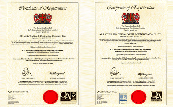 ISO & OHSAS CERTIFICATE